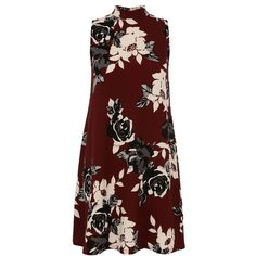 Dorothy Perkins Quiz Berry Crepe Flower Dress ($27) ❤ liked on Polyvore featuring dresses, red, floral printed dress, flower dress, turtleneck dress, flower print dress and turtle neck dress