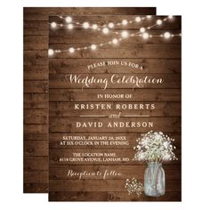 Shop Rustic Baby's Breath Mason Jar Lights Wedding Invitation created by CardHunter. Personalize it with photos & text or purchase as is! Mason Jar Wedding Invitations, Country Wedding Invitations, Rehearsal Dinner Invitations, Engagement Party Invitations, Rustic Invitations, Bridal Shower Invitations, Wedding Favors, Engagement Parties, Party Favors