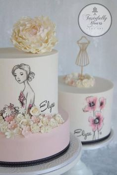 Pretty girl cakes - Bespoke handpainted designs by Tastefully Yours Cake Art Gorgeous Cakes, Pretty Cakes, Cute Cakes, Amazing Cakes, Girly Cakes, Fancy Cakes, Fondant Cakes, Cupcake Cakes, Rodjendanske Torte