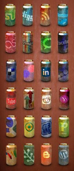 Free social media icon set - old soda cans