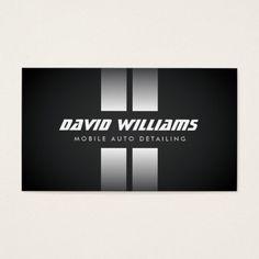 RACING STRIPES WHITE/BLACK Auto Detailing, Repair Business Card