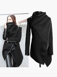 Mantella cappotto donna urban style Maniche lunghe Zipper Cotton