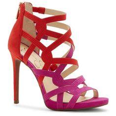 Jessica Simpson Rainiah Criss Cross Back Zip Stiletto Dress Sandals ❤ liked on Polyvore featuring shoes, sandals, zipper shoes, stiletto high heel shoes, stiletto heel sandals, zip shoes and heels stilettos