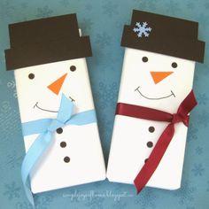 Snowman Chocolate Bar stocking stuffers!  Sooo CUTE!!!  DIY by Simple Joys Of Home.