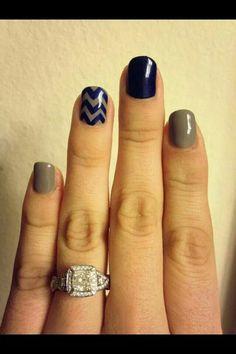 Gel nails with chevrons :-) nails маникюр Chevron Nails, Gray Nails, Love Nails, Fun Nails, Pretty Nails, Manicure Y Pedicure, Shellac Nails, Mani Pedi, Nail Polish