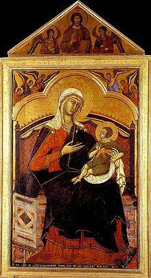 Virgen y el Niño entronizados con seis ángeles encima Palacio Pubblico, Siena.