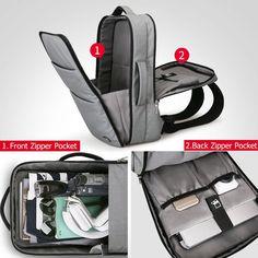 Fancy   Huge Capacity Waterproof USB Design Laptop Backpack 17 inches Travel Bag