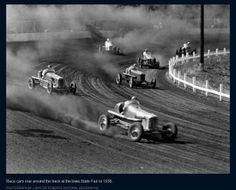 Gotta love that dirt! Dirt track racing at the Iowa State Fair in 1938.
