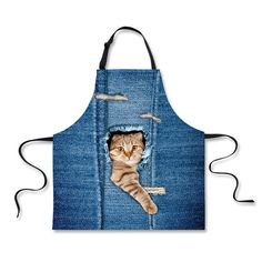HUGSIDEA Novelty Cute Kitten Cat Print Kitchen Cooking Aprons Denim Blue *** Want to know more, click on the image. (This is an affiliate link and I receive a commission for the sales) #PetCats