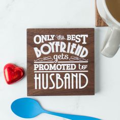 Husband Quote Wood Coaster | Create Gift Love £13  Put a smile on your husband's face with this stunning wood coaster in an on-trend typography print.  http://www.creategiftlove.co.uk/collections/personalised-valentines-day-gifts/products/husband-quote-wood-coaster  #valentinesgifts #giftsforhusband #creategiftlove
