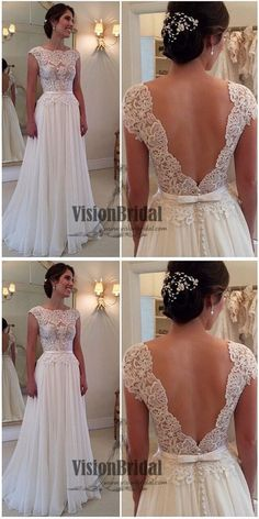 White Scoop Neckline Lace V-Back Chiffon A-Line Prom Dress, Floor Length Prom Dress With Ribbon, Prom Dresses, VB0244 #promdress
