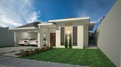Casa C026: Projeto de casa com 3 quartos, sendo 3 suítes, 3 banheiros, 2 vagas na garagem e fachada no estilo americano. Casa ideal para famílias grandes.
