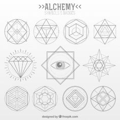 Collection of alchemy symbol in linear style Premium Vector Spell Circle, Psychedelic Tattoos, Sacred Geometry Patterns, Linear, Solomons Seal, Masonic Symbols, Geometric Graphic, Symbol Design, Henna Tattoo Designs