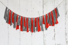 Upcycled Rag Banner -- Ohio State inspired - party decor - photo prop