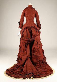 Victorian Edwardian Clothing | Wedding dress, 1879, silk