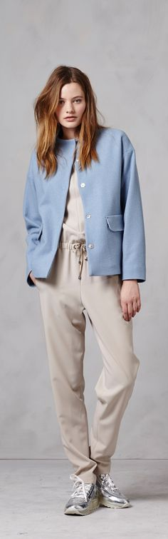 Spring is coming faster than you realize – reign it in gracefully with a soft, powder blue jacket over a classy, comfortable beige jumpsuit from Bogner Woman.