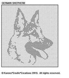 GERMAN SHEPHERD Filet Crochet Pattern