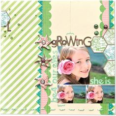 I saw this LO using Studio Calico's Boardwalk kit.  I think it's gorgeous.  I love the colors, the title, the overlapping hexigons, the photo collage.  Amazing.  #stuidocalico