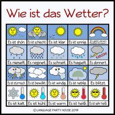 Seasons and Weather in German (Posters and Printables) - deutsch Study German, Learn German, German Grammar, German Words, Deutsch Language, Germany Language, German Language Learning, Weather Vocabulary, House Seasons