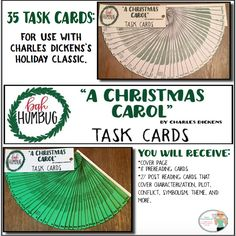 """35 task cards. Use the classic Christmas tale, """"A Christmas Carol,"""" by Charles Dickens, to teach your students how to closely analyze literature through the use of task cards. This lesson plan includes 8 pre reading task cards and 27 post reading task cards that require students to analyze character motivation, setting, conflict, plot, and much more.  These task cards work perfectly for individual, small group, or whole class assignments, as reading assignments or assessments...."""