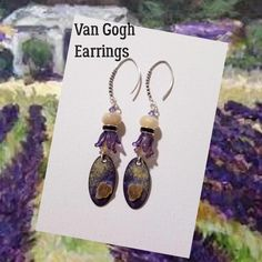 Stunning earrings inspired by a Van Gogh painting. I pulled not just from the color palette but from the inspired textures created by the artist. Wire Wrapped Jewelry, Wire Jewelry, Beaded Jewelry, Van Gogh Paintings, Wire Wrapping, Beading, Wraps, Jewelry Making, Place Card Holders
