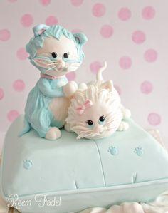 Kittens on a pillow baby shower cake- based on original design of Debbie Brown https://www.facebook.com/ReemFadelCakes