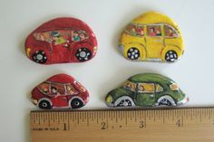 Tiny Car Rocks Set of Four Hand Painted by MJBousquet on Etsy, $34.00