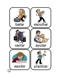Use these 48 fun and colorful cards to explore Spanish action verbs - use them as flashcards, a bulletin board or wall display, a memory matching game, or the foundation for more difficult practice like conjugation and recognizing words that have irregular conjugations.