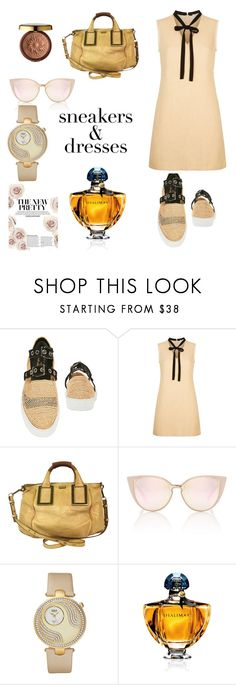 """""""snakers and dress"""" by angela-villano ❤ liked on Polyvore featuring Robert Clergerie, Maje, Chloé, bürgi, Physicians Formula and Guerlain"""