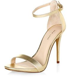 Gold Leather Ankle Strap Heels | New Look