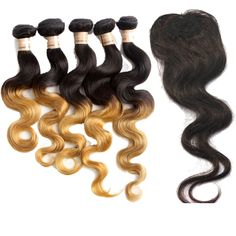 "3pcs 5A Ombre Brazilian Human Hair Body Wave 1b27# 10""12""14""+8"" Top Lace Closure #WIGISS #HairExtension"
