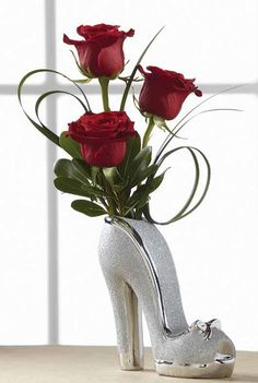 shoe floral arrangement | ... in a stunning unique glittered shoe vase its the perfect size