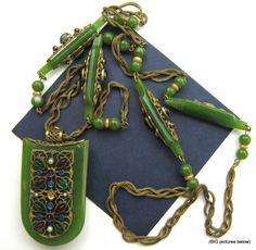 Vtg Antique RARE Green Plastic Necklace Art Deco Red Rinestone 2 Sided Pendant | eBay