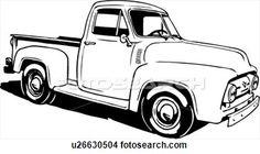 ilustración, lineart, clásico, 1953, ford, recolección, camión Ver  Clip Art Gráficos en Grande