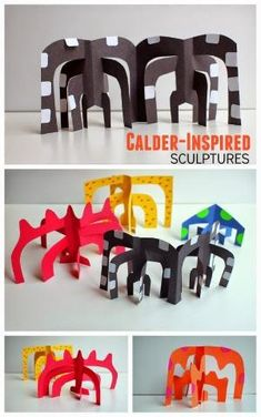 Sculptures (and our favorite art books!) Easy Kids art project- Make Calder-Inspired paper sculptures. elementary art lessonEasy Kids art project- Make Calder-Inspired paper sculptures. Easy Kids Art Projects, Easy Art For Kids, Paper Art Projects, School Art Projects, Food Art For Kids, Clay Projects, Sculpture Lessons, Sculpture Projects, Classe D'art