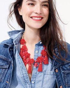J.Crew women's denim jacket in Newton wash always chambray shirt and honeymoon tassel necklace.
