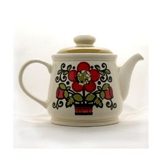 Retro Sadler Teapot  Red Flower Teapot  Classic by OnlyCoolStuff