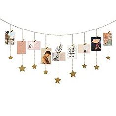 Diy Wall Decor For Bedroom, Cute Room Decor, Wall Art Decor, Photo Decoration On Wall, Photo Wall Hanging, Hanging Photos, Photo Hanging Clips, Hanging Garland, Star Garland