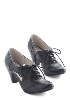 Cheerful Steam Ahead Heel in Black. As soon as you lace up these wingtip pumps by Chelsea Crew, your style and vigor are unstoppable. #black #modcloth