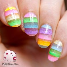 I'm calling this jelly dessert nail art because I was inspired by gelatin desserts I saw with multiple colored tiers. They looked so pretty! This is a pretty easy & quick design so I have a video tutorial on the blog :)