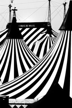 Le Cirque des Reves: 'The towering tents are striped in white and black, no golds or crimsons to be seen... Black and white stripes on grey sky; countless tents of varying shapes and sizes, with an elaborate wrought-iron fence encasing them in a colorless world.'