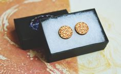 Wooden Animal pattern Circle Shaped Stud Earrings. by Nightmagnets
