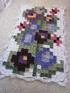 Oversized Cross-Stitch Inspired Afghan | AllFreeCrochetAfghanPatterns.com