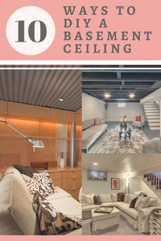 How to Finish Your Basement and Basement Remodeling Finishing your basement can almost double the square foot living space of your home. A finished basement can include new living space such as a r… Basement Ceiling Insulation, Basement Ceiling Options, Basement Walls, Basement Bedrooms, Basement Flooring, Ceiling Ideas, Basement Ideas, Rustic Basement, Industrial Basement