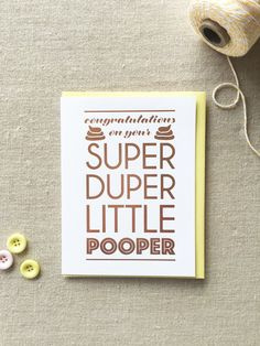 Funny Rose Gold Foil Baby Expecting Card | Super Duper Little Pooper | kiss and…