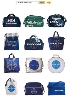 Vintage airline travel bags.  I remember every time Gran came home from a trip she'd have a new one of these.