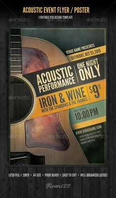 Buy Acoustic Event Flyer/Poster Template by GraphicMonkee on GraphicRiver. This flyer/poster template was designed with an acoustic coffee house, small venue style performance in mind. Ad Layout, Poster Layout, Print Layout, Layouts, Music Flyer, Concert Flyer, Concert Posters, Club Poster, Gig Poster
