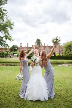 A fabulous white and gun metal themed Great Fosters Summer wedding and a relaxed and informal group shot of the bride and her bridesmaids. Bridesmaids, Bridesmaid Dresses, Wedding Dresses, Great Fosters, Informal Weddings, Dress Picture, Surrey, Wedding Shoot, Picture Ideas
