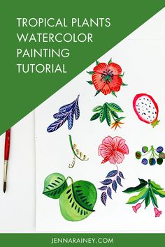 Tropical plants watercolor painting tutorial. There's something about tropical leaves, flowers, and fruit that is SO fun to paint. —In any case, I decided to try painting tropical foliage with my new obsession—adding white gouache to watercolor! Have you tried it? If not, hit play on this video and give it a whirl. Watercolor Plants, Easy Watercolor, Watercolour Tutorials, Watercolor Design, Watercolor Paintings, Watercolor Techniques, Tropical Leaves, Tropical Plants, White Gouache