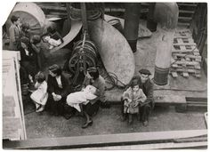 [women and children on evacuation ship, Bilbao]
